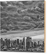 Angry Skies Over Nyc Wood Print