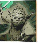 Angry Yoda Wood Print