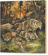 Animals United In Terror As They Flee From A Forest Fire Wood Print