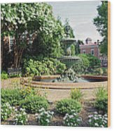 Annapolis Fountain Garden Wood Print
