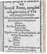 Anne Bradstreet Title-page Wood Print