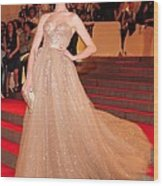 Anne Hathaway Wearing  A Valentino Gown Wood Print