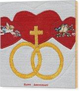 Anniversary Hearts Wood Print