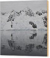 Antarctic Mountains Reflected Wood Print