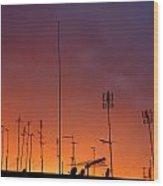 Antennas On Sunset Wood Print