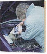 Antifreeze And Car Engine Wood Print