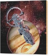 Antimatter Drive Spaceship Wood Print by Victor Habbick Visions