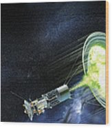 Antimatter Spaceship Wood Print by Henning Dalhoff