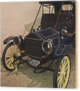 Antique Automobile With Yellow Spoke Wheels Wood Print