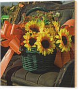 Antique Buggy And Sunflowers Wood Print