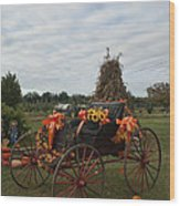 Antique Buggy In Fall Colors Wood Print