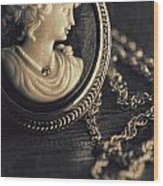 Antique Cameo Medallion On Wood Wood Print