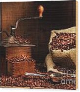 Antique Coffee Grinder With Beans Wood Print by Sandra Cunningham