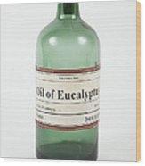 Antique Eucalyptus Oil Bottle Wood Print
