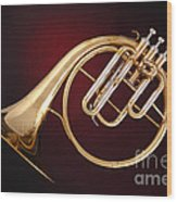 Antique French Horn On Deep Red Wood Print