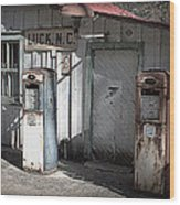 Antique Gas Pumps Wood Print
