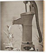 Antique Hand Water Pump Wood Print