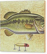 Antique Lure And Bass Wood Print by JQ Licensing