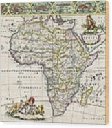 Antique Map Of Africa Wood Print