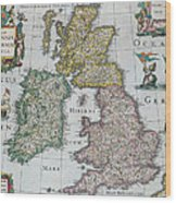 Antique Map Of Britain Wood Print by English School
