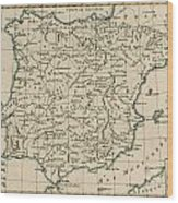 Antique Map Of Spain Wood Print