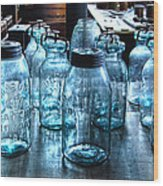 Antique Mason Jars Wood Print by Mark Sellers
