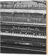 Antique Piano Black And White Wood Print