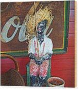 Antique Plaster Black Child Fisherman With Coca Cola Background Wood Print