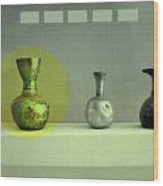 Antique Vases Still Life Altered II Wood Print