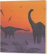 Apatosaur Dinosaurs, Artwork Wood Print