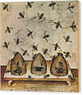 Apiculture-beekeeping-14th Century Wood Print by Science Source