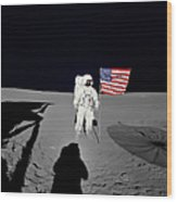 Apollo 14 Astronaut Stands Wood Print