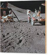 Apollo 15 Astronaut Works At The Lunar Wood Print
