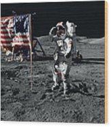 Apollo 17 Astronaut Salutes The United Wood Print