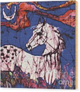 Appaloosa In Flower Field Wood Print