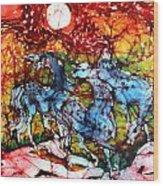 Appaloosas On A Fiery Night Wood Print by Carol Law Conklin