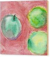 Apple And Two Lemons Wood Print
