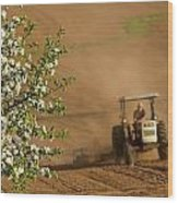 Apple Blossoms And Farmer On Tractor Wood Print