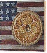 Apple Pie On Folk Art  American Flag Wood Print