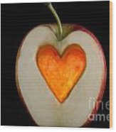Apple With A Heart Wood Print by Mats Silvan
