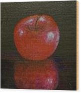 Apple With Reflection Wood Print
