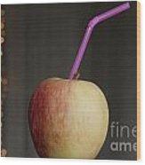 Apple With Straw Wood Print