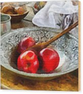 Apples In A Silver Bowl Wood Print