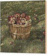 Apples In Basket Wood Print