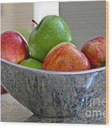 Apples In Fruit Bowl Wood Print