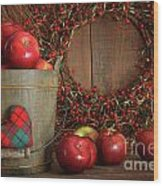 Apples In Wood Bucket For Holiday Baking Wood Print