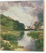 Approaching Storm Wood Print by Thomas Moran