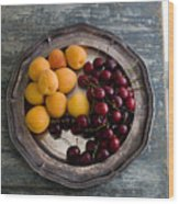 Apricots And Cherries On Silver Tray Wood Print