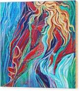 Aqua Rain Wood Print