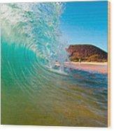 Aqua Swirl Wood Print by Monica and Michael Sweet